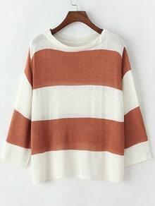 Khaki White Round Neck Striped Knit Sweater