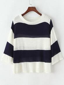 Navy White Round Neck Striped Knit Sweater