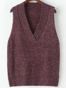 Red V Neck Sleeveless Knit Sweater