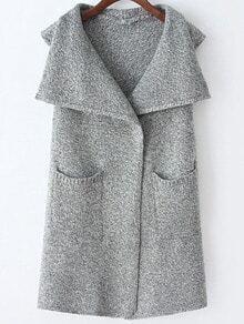 Light Grey Lapel Sleeveless Pockets Sweater Vest