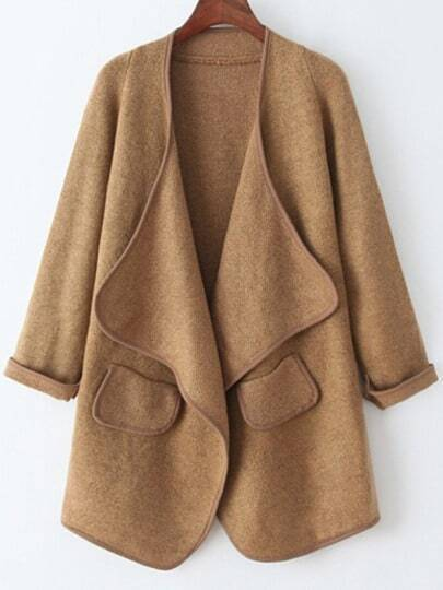 Khaki Long Sleeve Pockets Loose Sweater Coat
