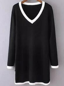 Black V Neck Long Sleeve Contrast Trims Sweater