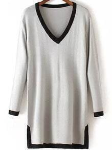 Grey V Neck Long Sleeve Contrast Trims Sweater