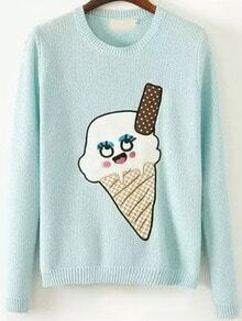Mint Green Round Neck Ice Cream Print Sweater