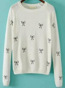 Beige Round Neck Bow Embroidered Sweater
