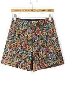 Multicolor Casual Floral Shorts