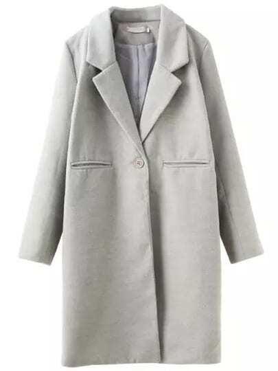 Grey Lapel Long Sleeve Loose Woolen Coat