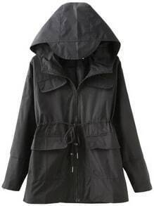 Black Hooded Drawstring Pockets Trench Coat