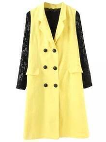 Yellow Contrast Lace Long Sleeve Double Breasted Coat
