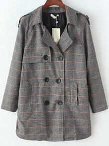 Grey Khaki Lapel Epaulet Plaid Double Breasted Coat
