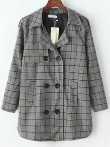 Grey Black Lapel Epaulet Plaid Double Breasted Coat