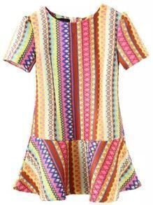 Multicolor Round Neck Embroidered Ruffle Dress