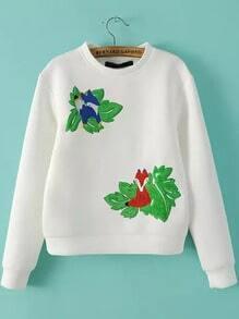 White Round Neck Fox Embroidered Crop Sweatshirt