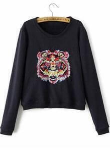 Black Round Neck Tiger Embroidered Crop Sweatshirt