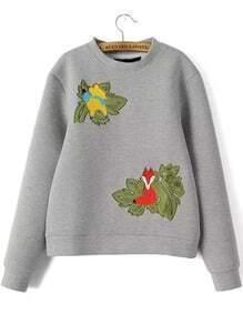 Grey Round Neck Fox Embroidered Crop Sweatshirt