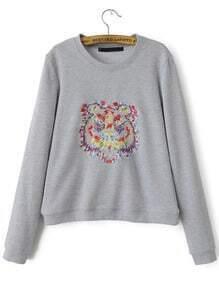 Grey Round Neck Tiger Embroidered Crop Sweatshirt