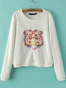 White Round Neck Tiger Embroidered Crop Sweatshirt