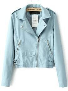 Blue Lapel Epaulet Oblique Zipper Crop Jacket