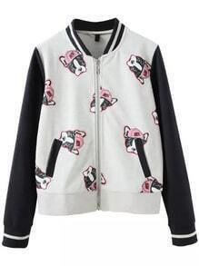 Colour-block Stand Collar Dog Print Jacket