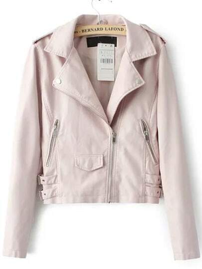 Pink Lapel Epaulet Oblique Zipper Crop Jacket