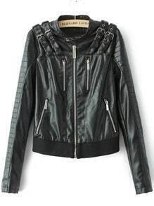 Black Epaulet Zipper Crop Jacket