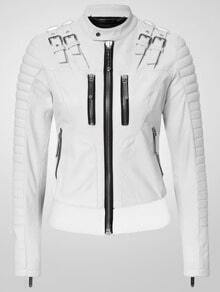 White Epaulet Zipper Crop Jacket