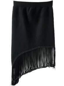 Black Tassel Bodycon Asymmetrical Skirt