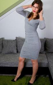 Grey Shutter Long Ribbed Sleeve Deep V Neck Ruched Wiggle Dress