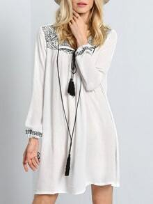Beige Pima Long Sleeve Embroidered Dress