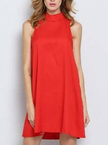 Red Melon Sleeveless Lapel Zipper Dress