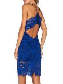 Blue Spaghetti Strap Crochet Lace Dress