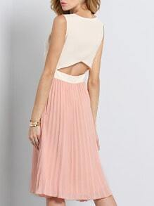 Nude Sleeveless Cut Out Pleated Dress