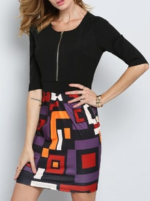 Black Half Sleeve Abstract Print Dress