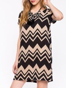 Black Khaki Short Sleeve Geometric Dress
