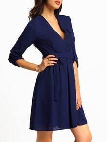 Navy Half Sleeve V Neck Dress
