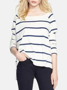 White Long Sleeve Striped T-Shirt