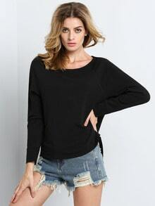 Black Long Sleeve Hollow Cross Sweatshirt