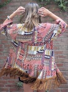 Multicolor Half Sleeve Vintage Print Tassel Kimono