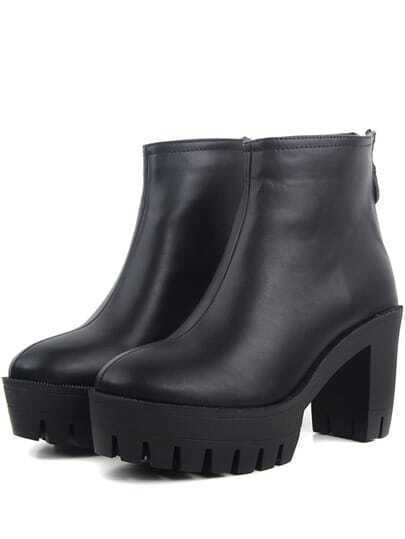 Black Casual Zipper Chunky Heel PU Boots