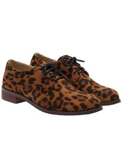 Leopard Casual Shoelace PU Flats