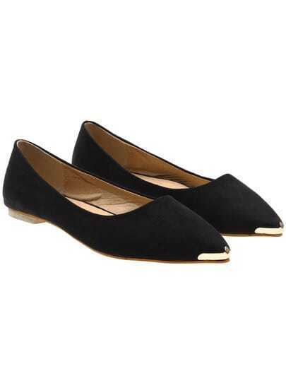 Black Casual Point Toe Flats