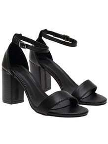 Black Ankle Strap Chunky Heel Sandals