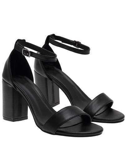 Black Ankle Strap Chunky Heel Sandals