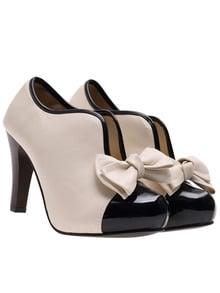 Beige Black High Heel Bow Embellished Boots