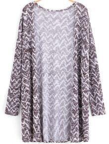 Multicolor Long Sleeve Zigzag Pattern Cardigan