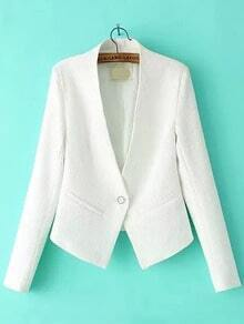 Single Button Slim White Blazer