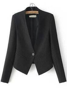 Single Button Slim Black Blazer