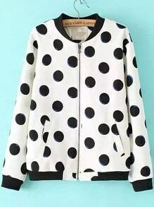 Contrast Collar Polka Dot Coat