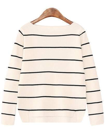 Boat Neck Striped White Sweater