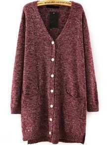With Pockets Buttons Side Split Red Cardigan